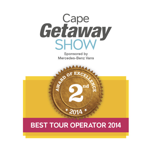 Best Tour Operator - Second Place - Cape Getaway Show 2014-White